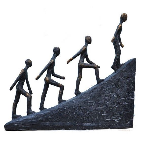 VintageStyle Four Hill Walkers Climbers Bronzed Figurines Sculpture OrnamentGift